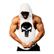Punisher Sporcu Kapüşonlu Atlet Beyaz