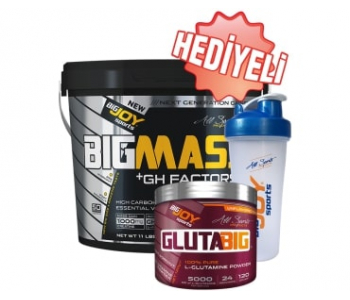 BigJoy Sports BigMass GH Factors 5000 Gr   Glutabig 120 Gr   Shaker